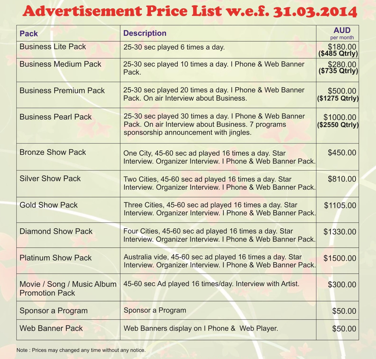 advertisement-price-list